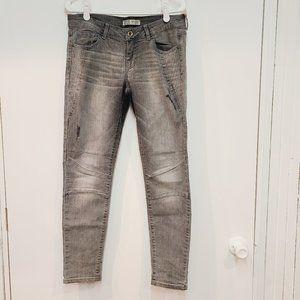 Zara Gray Denim Skinny Moto Jeans